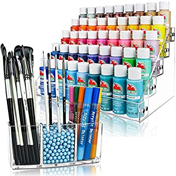 Paint Organizer Paint Brush Holder & Brush Support Beads  Sky Blue  Fits 2oz Acrylic Bottles Oil Paint Tubes Acrylic Paints Miniatures & more Brush Organizer has 3 Compartments.
