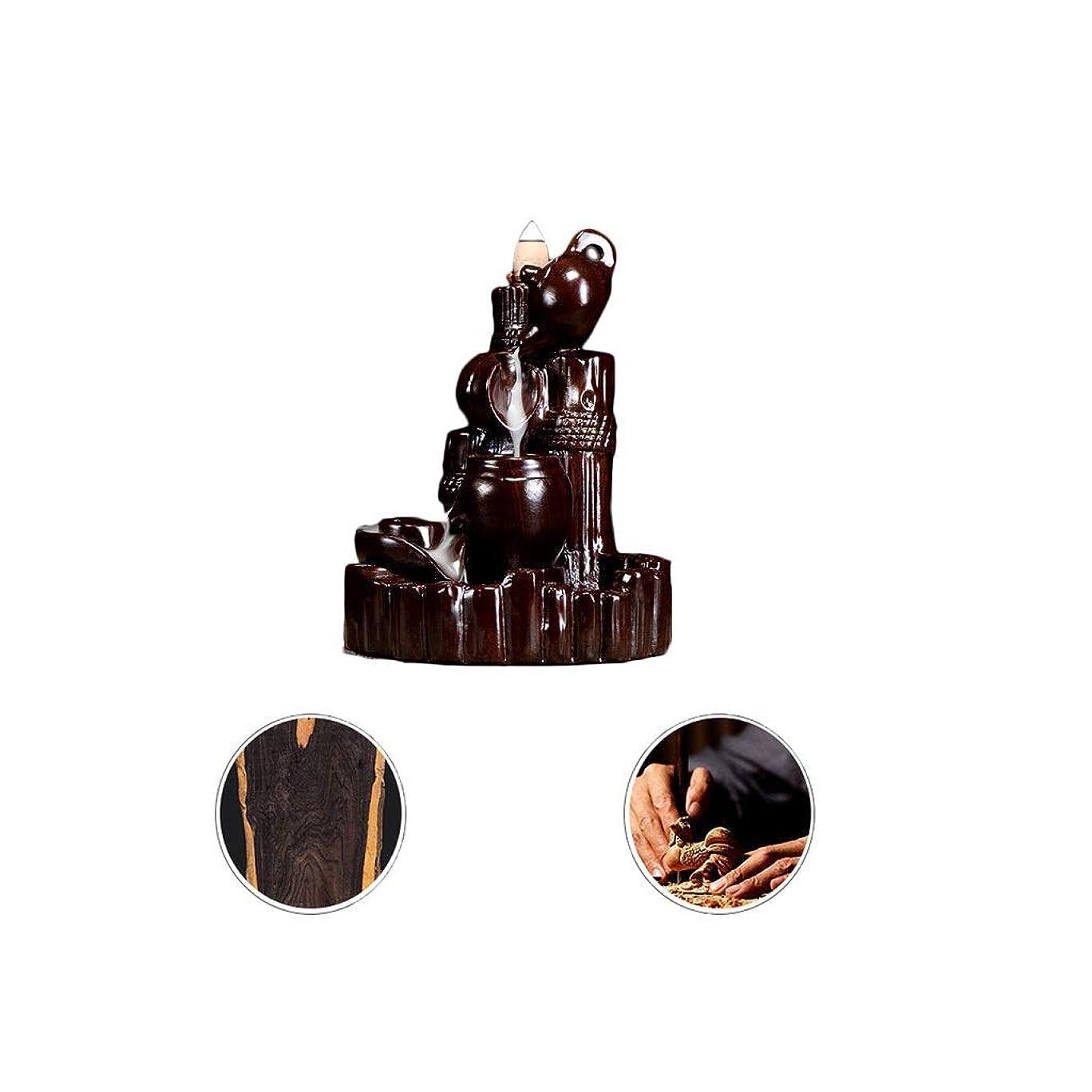 疲労借りるエッセイホームアロマバーナー 逆流香新古典香炉木製黒檀香バーナーアロマテラピー炉 アロマバーナー (Color : Black and ebony)