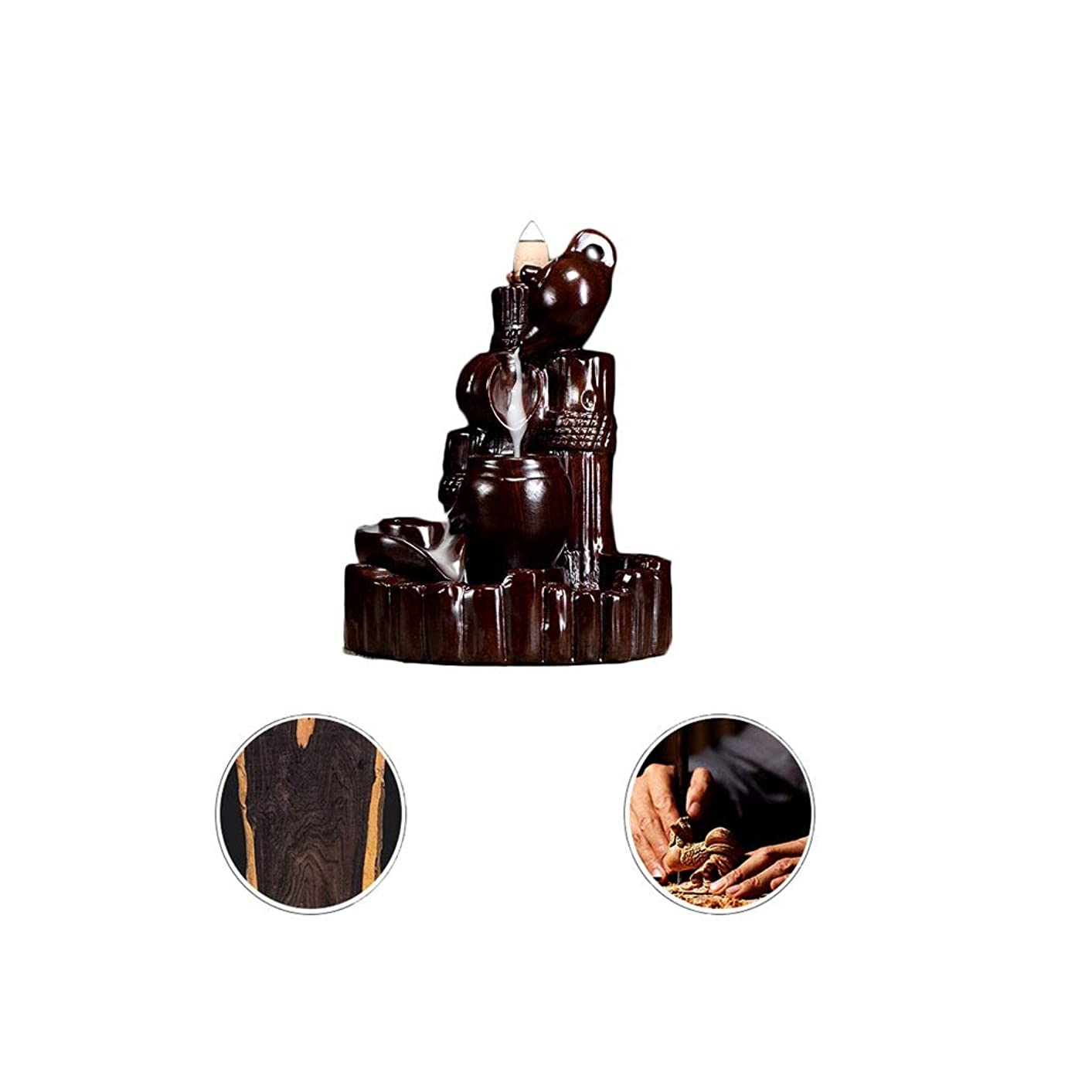 落胆するダース縁芳香器?アロマバーナー 逆流香新古典香炉木製黒檀香バーナーアロマテラピー炉 アロマバーナー (Color : Black and ebony)