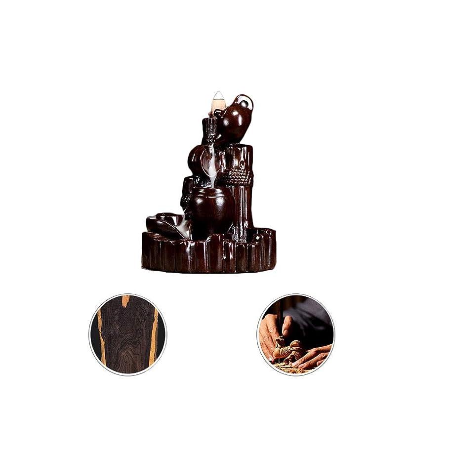 オッズ法律手つかずの芳香器?アロマバーナー 逆流香新古典香炉木製黒檀香バーナーアロマテラピー炉 アロマバーナー (Color : Black and ebony)