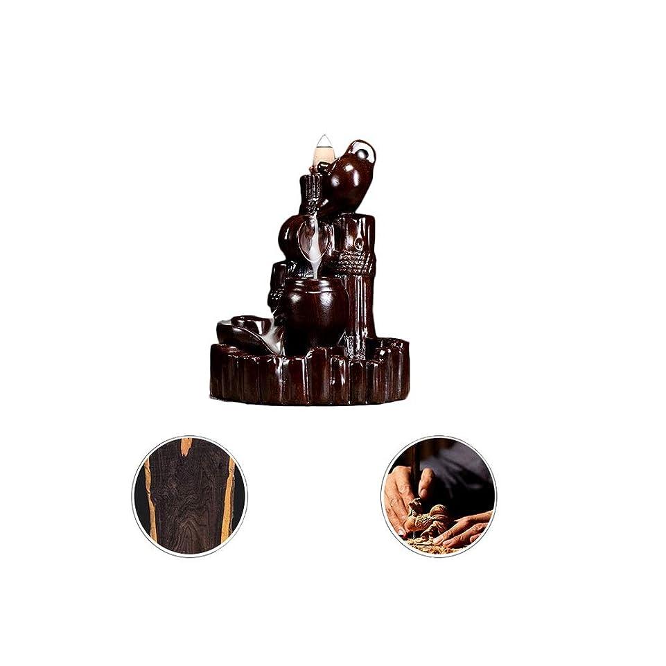ディレイ推測する大学芳香器?アロマバーナー 逆流香新古典香炉木製黒檀香バーナーアロマテラピー炉 アロマバーナー (Color : Black and ebony)