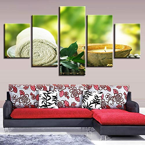 Aicedu canvas, decoratie van het huis, HD-druk, 5 servetten, bladeren, kaarsen, schilderen, spa, massage, affiche, woonkamer, wanddecoratie L-30x40 30x60 30x80cm Frame