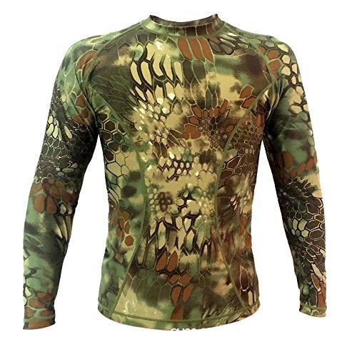 Webetop Maglietta a maniche lunghe tattico Quick Dry Sport T-shirt Tees, XL, Verde