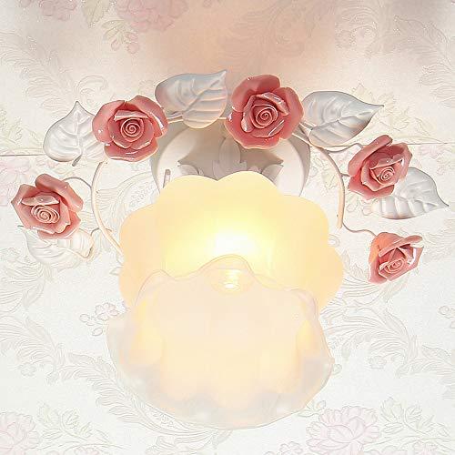 ZZYJYALG Estilo europeo Aplique de pared rural Aplique de dormitorio para niños Luz de cúpula Lámpara de vidrio cálido Decoración Rosa Lámpara colgante Restaurante Lámpara de techo Pasillo Lámpara de