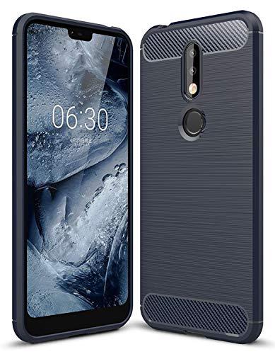 YEESOON Capa para Nokia 7.1, capa de proteção ultrafina macia e leve TPU com design de fibra de carbono para Nokia 7.1 (azul)