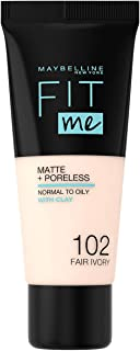 Maybelline New York Fit Me Matte and Poreless Foundation - 102 Fair Ivory, 30 ml
