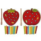 Juego de Capturas Gusanos Juguetes de Educativos Inteligencia Desarrollo Juguete Magnético Rompecabezas de madera Frutas coloridas Juguetes de madera Bloques de rompecabezas(fresa)