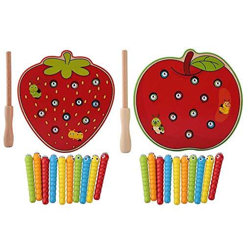 Zerodis Angelspiel Fangwürmer Spiel Kinder pädagogische Intelligenz Entwicklung Spielzeug magnetische Holz Puzzle Bunte Früchte Holzspielzeug Puzzle Blöcke für Kinder Geschenke(Apfel)