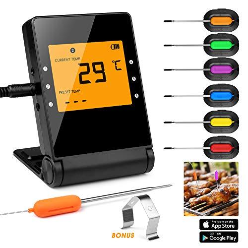 Shinmax Grillthermometer Thermometer Küche Digitales Grill Thermometer Bratenthermometer Fleischthermometer Temperatur Voreinstellung Küchenwecker Sofortiges Auslesen,intelligentes Bluetooth Erntedank