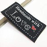Etiquetas de tela de letras hechas a mano Etiquetas lavables de bordado para bolsas de ropa Accesorios de costura de bricolaje, etiquetas de color negro