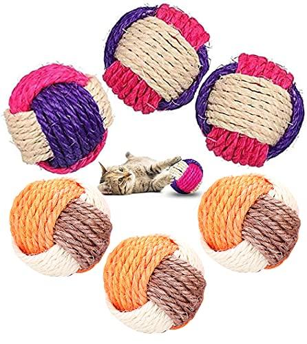 Katzen-Sisal-Ball,6 Haustier-Katzen-Sisal-Bälle,natürliches Hanfseil,Spielzeugball,geeignet für Haustier-Katzen und Hunde