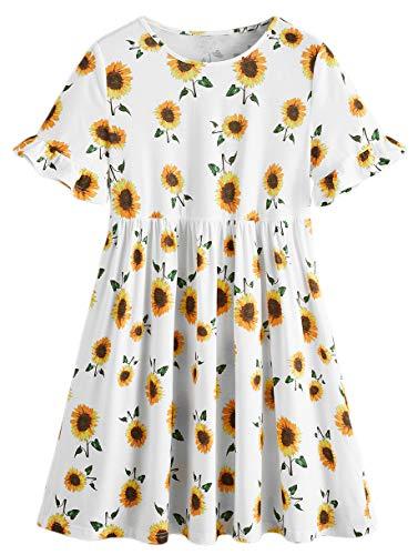 Romwe Women's Casual Swing Sunflower Print Short Sleeve Ruffle Tunic Loose Smock Dress White S