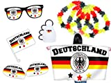 Alsino 9-teiliges Fanset Deutschland Fanpaket WM Fanartikel - Fahne: 90 cm x 150 cm, Autospiegelüberzüge, Autofahne, Rassel - Lochbrille und Hawaiiketten FP-03