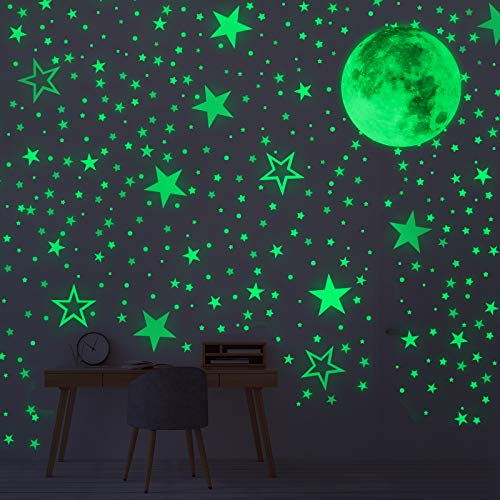 Vicloon Adesivi da Parete Fluorescenti, 519Pcs Glow in the Dark Stickers, Adesivo Luminoso con Stelle, Pieno Luna e Dots, DIY Adesivo Camera da Letto Cameretta Finestra Soggiorno Regalo per Bambini