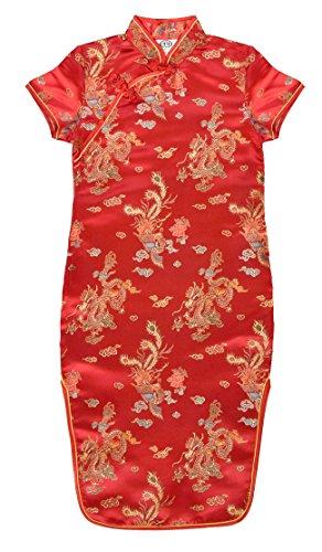 Vestido chino para niña, Qipao tradicionale rojo motivo dragones 12 años