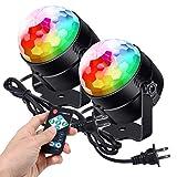 Litake ステージライト 最新版 6色LEDs ミラーボール カラフル水晶魔球 スポットライト リモコン付き 音声起動 自走機能 多色変更 ステージ/パーティー/カラオケ/ディスコ/クラブ/バー/舞台照明(2個セット)