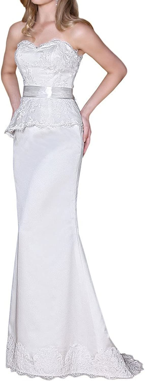 Avril Dress Sweetheart Lace Hem Satin Train Prom Evening Dress Long for Women