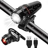 GARDOM Luci Bicicletta USB Ricaricabile, LED Luce Bici Anteriore e Luce Bici Posteriore Impermeabile, 3 modalità di Illuminazione, Sensore Intelligente per Bici Strada MTB