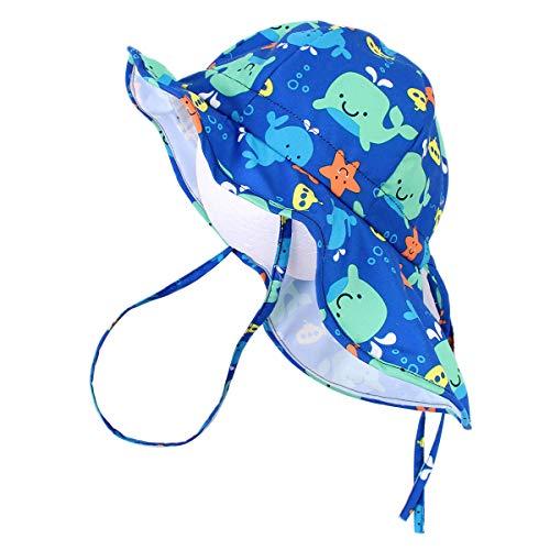 Happy Cherry - Cappello estivo per bambini con ala grande per spiaggia, nuoto, protezione da sole viso e collo - 48 cm/6-12 mesi 52CM/3-5Años Balena