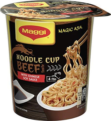 Maggi Magic Asia Beef Noodle Cup, Instant Nudel-Snack, asiatisches Fertiggericht, scharf gewürzt, Rind-Geschmack , 1er Pack (1 x 63g)