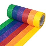 Honestptner Colored Masking Tape, Colored Painters Tape Decorative Adhesive Tape Colorful Rolls Scrapbooking Decoration Arts & Crafts Tape for Art, Lab, Labeling, Classroom Decorations