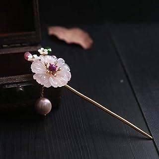 THTHT Argent Sterling 925 Epingle À Cheveux Rétro Stick Chinois Naturel Rose Tourmaline Cristal Fleurs Tempérament Féminin Classique Mariée Accessoires Cheveux Fixe Décoration