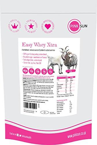 PINK SUN Proteine in Polvere Siero del Latte Dal di Capra e di Pecora Concentrato 1kg Neutro Easy Whey Xtra Puro Non Denaturato Non Aromatizzato Senza Soia Goat and Sheep Whey Protein 1000g