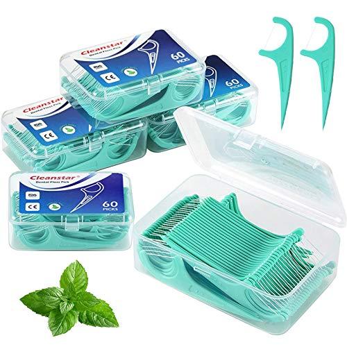 BEYAOBN Hilo dental 300 Piezas para interdental oral limpieza menta clara Palillos de hilo dental Plástico con estuches portátiles...