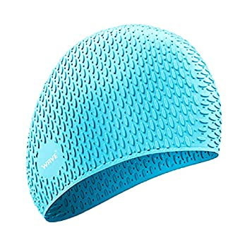 Silicone Swim Cap for Long Hair,Swimming Caps for Women Men Adults Youths Kids Waterproof Sport  Green