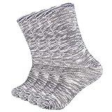 Enerwear 4P Pack Men's Merino Wool Trail Crew Socks (US 10-13, Black Pattern)