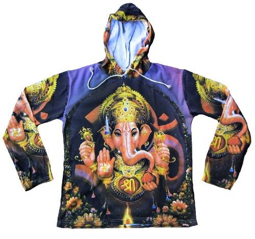TICILA - Maglietta da uomo con cappuccio viola Hindu Dio Lord Ganesha Ganesh Psychodelic Goa Trance Dj Beach Party Art Religion Star Designer Vintage Tattoo Design Lilla XL