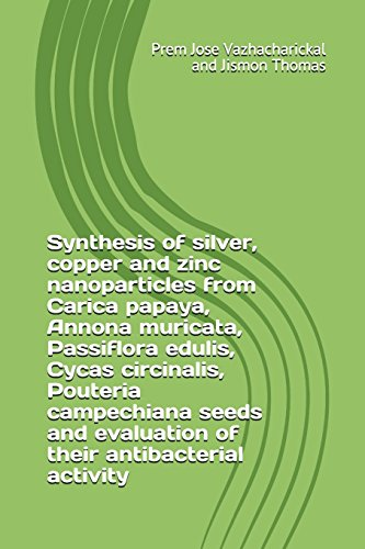 Synthesis of silver, copper and zinc nanoparticles from Carica papaya, Annona muricata, Passiflora edulis, Cycas circinalis, Pouteria campechiana seeds and evaluation of their antibacterial activity