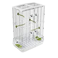 Vision cages contains 2x seed/water cups, 2 x waste sheilds, 4 x perches Horizontal wire 1.6mm, vertical wire 2.6mm, wire spacing (centre to centre) 12.3mm Suitable for budgies, canaries, lovebirds and finches Also available in small and large, tall ...