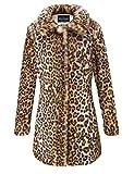 BELLIVERA Estampado de leopardo del abrigo de piel sintética de las mujeres, invierno mullido de Outwear caliente 18125 L
