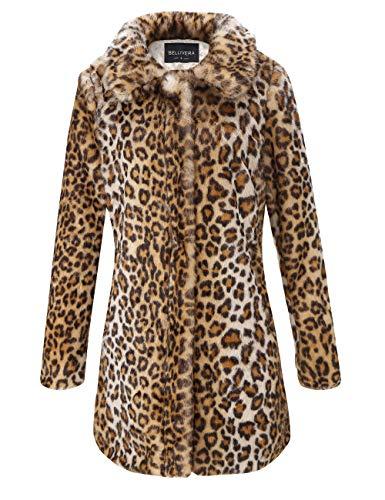 Bellivera Estampado de Leopardo del Abrigo de Piel sintética de Las Mujeres, Invierno Mullido de Outwear Caliente 18125 XL