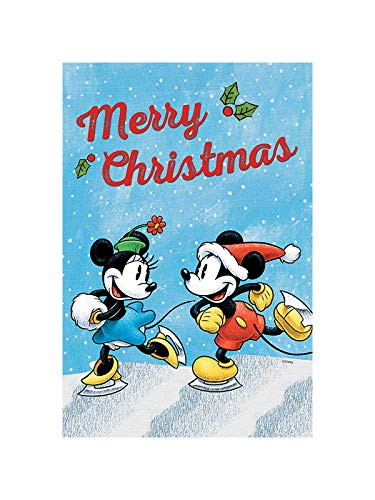 """Flagology.com, Disney, Mickey Mouse & Minnie Mouse, Merry Mickey & Minnie – House Flag – 28"""" x 40"""", Christmas, Outdoor/Indoor, Printed on Both Sides, Winter, Officially Licensed Disney"""