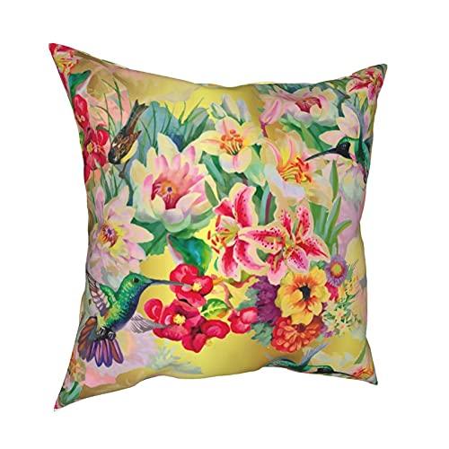 Reebos Funda de almohada decorativa de 45,7 x 45,7 cm, diseño de pájaros de trueno tropicales de color turquesa con flores, funda de cojín para sofá, silla, dormitorios