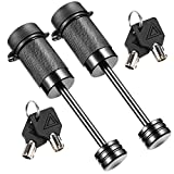 CZC AUTO Trailer Tongue Coupler Lock Keyed Alike Dia 1/4 Inch, 2-1/2 Inch Span Fits Latch-Type Coupler for Towing Boat Truck RV Car Trailer (2 Pack)