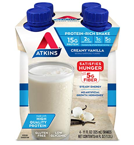 Atkins Gluten Free ProteinRich Shake Creamy/French Vanilla Keto Friendly 4 Count Packaging may vary