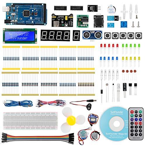 SunFounder Mega 2560 R3 Project Starter Kit for Arduino Mega2560 R3 Mega328 Nano with Detailed Tutorial, Mega 2560 Controller Board, LCD1602, Servo,Ideal for Students Hobbyists Beginners