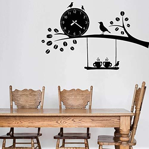 WERWN Etiqueta de la Pared de la Cocina Restaurante Vinilo Café Calcomanía Reloj de Aves Decoración de la Pared Decoración Creativa de la habitación Etiqueta de la Pared