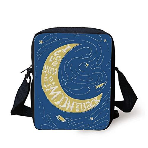 I Love You,Crescent Moon Maze with Comet Stars Swirls Celebration Birthday Print,Violet Blue Yellow Print Kids Crossbody Messenger Bag Purse