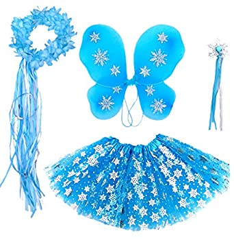Enchantly Fairy Costume - Fairy Wings for Girls - Butterfly Costume for Girls - Frozen Inspired Wings Tutu Wand and Halo