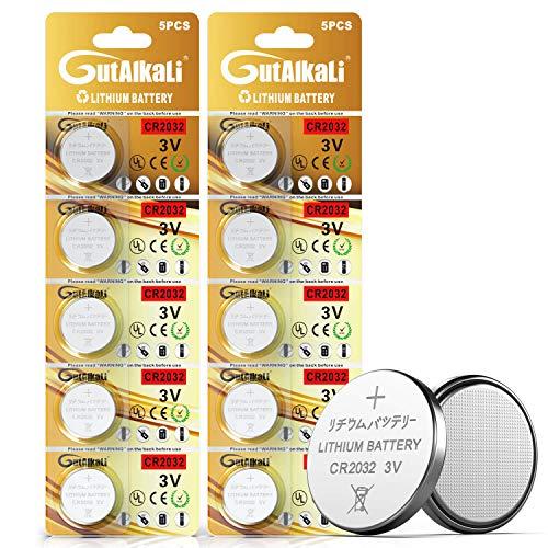 10 Stück CR2032 3V Batterien CR 2032 Knopfzelle (Lithium Knopfzellen - 3 Volt im 10-er Pack