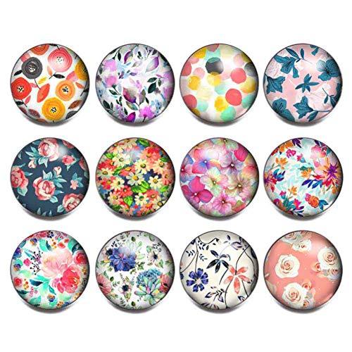 Soleebee 12 Stück Glas Aluminium 18mm Click Button fit 5.5mm-Knopfloch Schmuck Charms (Bunte Blume)