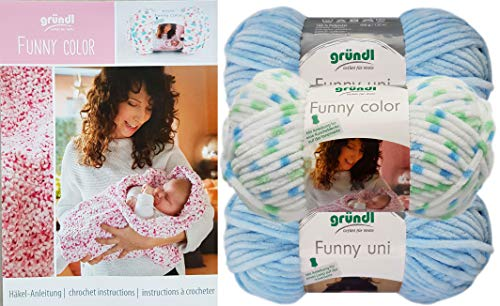 (3x100 Gramm) 2X Gründl Funny Uni, 1x Gründl Funny Color Set 5 Hellblau Mint Mix Softgarn SB Pack inkl Häkelanleitungsheft für eine Kuscheldecke + 1 Anleitung Funny Bunny