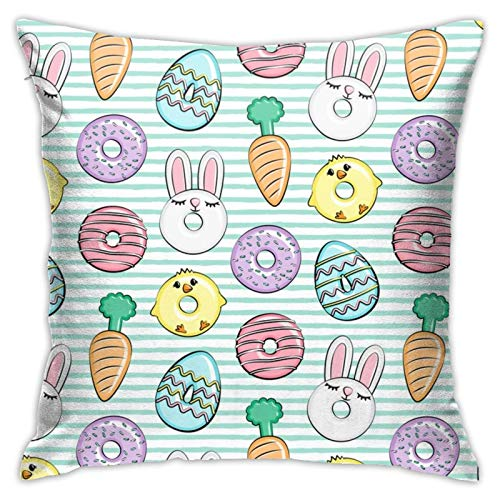 87569dwdsdwd Easter Duts Bunnies, Chicks, Carrots, Eggs Easter Aqua Stripes Square Pillow Case Home Sofa Decorative 18' X 18'Inch Ultra Soft Comfortable