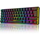 UK61 60% Teclado mecánico para juegos Tipo C Cableado 61 teclas Retroiluminación LED Teclado impermeable USB Retroiluminación RGB Teclas anti-fantasma para computadora / PC / Laptop / MAC
