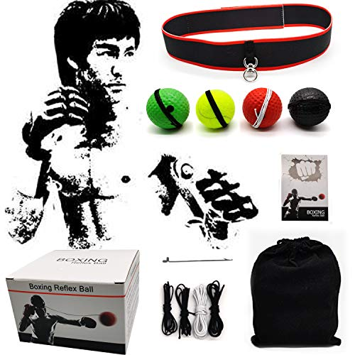Boxing Reflex Ball, 4 Difficulty Levels Boxing Ball with Headband, Perfect for Reaction, Agility, Punching Speed, Fight Skill and Hand Eye Coordination Training
