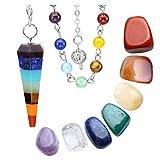 Jovivi 7Chakra Curación Péndulo Kit/incluye de cristal 1y 7chakra Palma Piedra Stons/curación péndulo de Chakra Divination Set